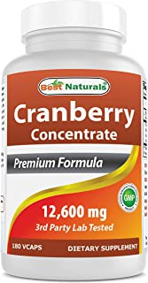 Best Naturals Cranberry Pills 3X Concentrate Veggie Capsule, 12600 mg, 180 Count (817716010755)