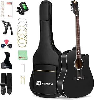 گیتار آکوستیک Vangoa برای مبتدیان بزرگسال 41 اینچ سایز کامل Dreadnought Cutaway Acustica Guitarra Starter Bundle Kit با کتابچه راهنمای کاربر و کیف گیگ ، مشکی مات
