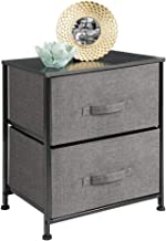 mDesign Vertical Dresser Storage Tower - Sturdy Steel Frame, Wood Top, Easy Pull Fabric Bins - Organizer Unit for Bedroom,...