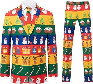 d/Spoke Mens Multicolored Festive Wrapping Paper 2 Piece Christmas Suit