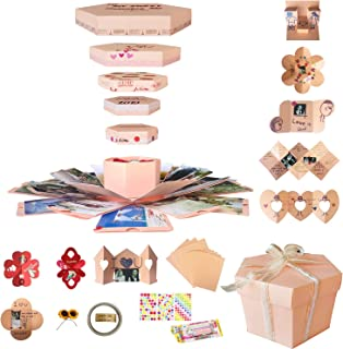 Explosion Gift Box Set Album Scrapbook DIY Photo Album Box for Birthday Anniversary Wedding (Pink)