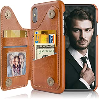 LOHASIC for iPhone Xs Wallet Case, 5 Card Holder for iPhone X, Stand Flip Bulky Magnetic Vegan Leather Cover for Men, Compatible with Apple iPhone Xs (2018) /X (2017) 5.8 Inch in Brown