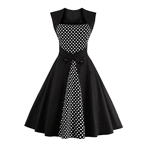 027a0907374df Ezcosplay Women's Vintage Polka Dot Sleeveless 1950s Cocktail Tea Party  Dress