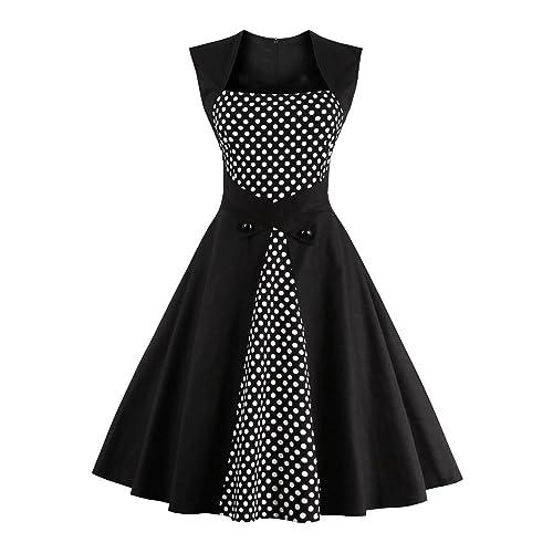 4321cc3273 Ezcosplay Women s Vintage Polka Dot Sleeveless 1950s Cocktail Tea Party  Dress