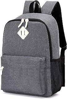 Waterproof Canvas Backpack Bookbag for School Girls Boys Women(Grey)