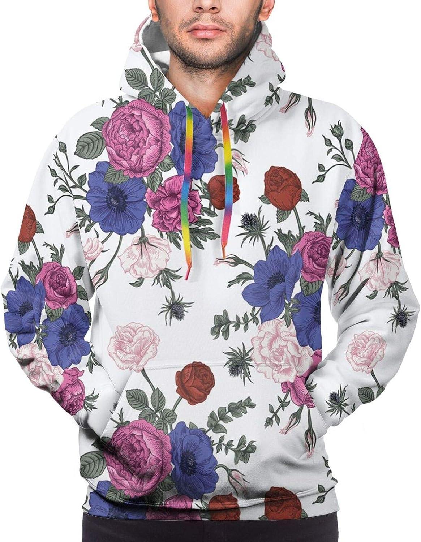 Men's Hoodies Sweatshirts,Bouquets of Ranunculus Grape Hyacinth Flowers of Spring Season