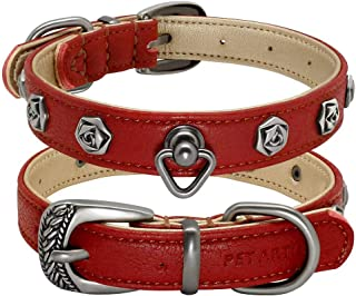 PET ARTIST Soft Leather Designer Dog Collars for Small Medium Dogs Puppies, Handcraft Rose Rivet Studded Puppy Collar for Pug French Bulldog Miniature Pinscher, 2 Colors 2 Sizes