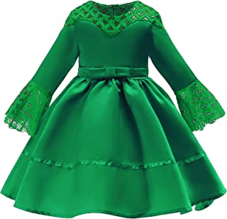 Xifamniy Infant Girls Half Sleeve Skirt Solid Color Lace Design Lacing Waist Tutu Dress Green