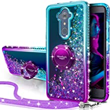 ZTE ZMax Pro Case, ZTE Carry Z981 Case, Silverback Girls Women Moving Liquid Holographic Glitter Case with Ring Stand for ZTE Imperial Max Z963U/ZTE Blade Max 3 Z986/Max XL N9560/Blade X Max -Purple