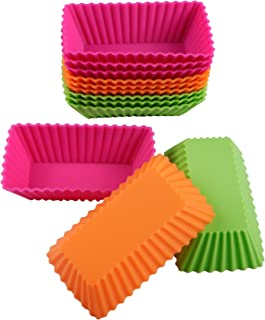 Webake Rectangular Cupcake Liners Baking Cups 4.3 Inch Reusable Nonstick Silicone Mini Loaf Pan (Pack of 12)