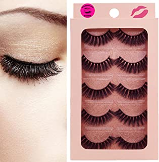 9fd0adcd8a4 DAODER Thick Short 3D Mink Lashes 5 Pairs False Eyelashes Pack Volume  Hand-made Reusable