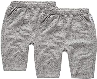 Hommie Kids Pack of 2 Unisex Baby Toddler Kids Solid Color Cotton Shorts