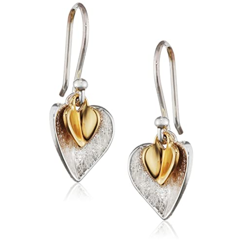 21065ac43a629 Elements Silver Gold Plated Double Heart Sterling Silver Earrings of Length  2.5 cm