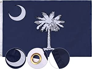 FLAGBURG South CarolinaFlag 3x5 FT, SC State Flags with Heavy Duty Embroidered, Canvas Header & Brass Grommets, 100% High-Grade Outdoor The Palmetto State Flag for All-Weather Outdoor Display