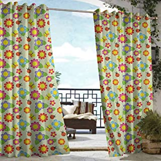 Andrea Sam Exterior/Outside Curtains Baby,Floral Pattern with Ladybugs and Butterflies Dotted Background Nature Inspirations, Multicolor,W84 xL108 Thermal Insulated Water Repellent Drape for Balcony