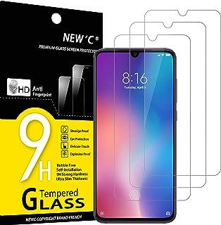 NEW'C 3-pack skärmskydd med Xiaomi Mi 9, Mi 9 Pro, Xiaomi CC9 – Härdat glas HD klar 9H hårdhet bubbelfritt
