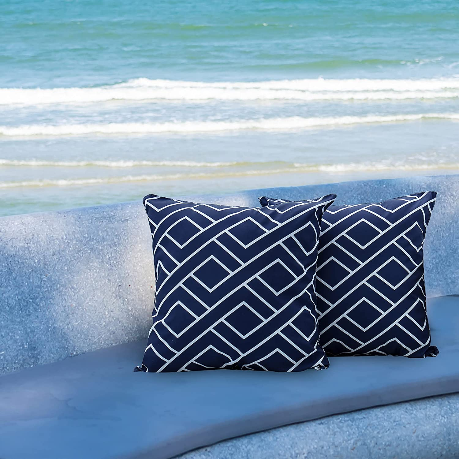 [Ultra Water Resistant]Bonlino Pack of 2 Decorative Outdoor Patio Waterproof Throw Pillow Covers Garden Cushion Sham Pillowcase Shell for Patio Furniture and Sunbrella 18x18 Inch ( Blue Weave pattern)