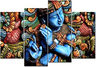 LevvArts - Lord Krishna Wall Art,Religion Painting for Modern Home Office Decor, Act with Compassion,Tenderness and Love,Framed Art Ready to Hang