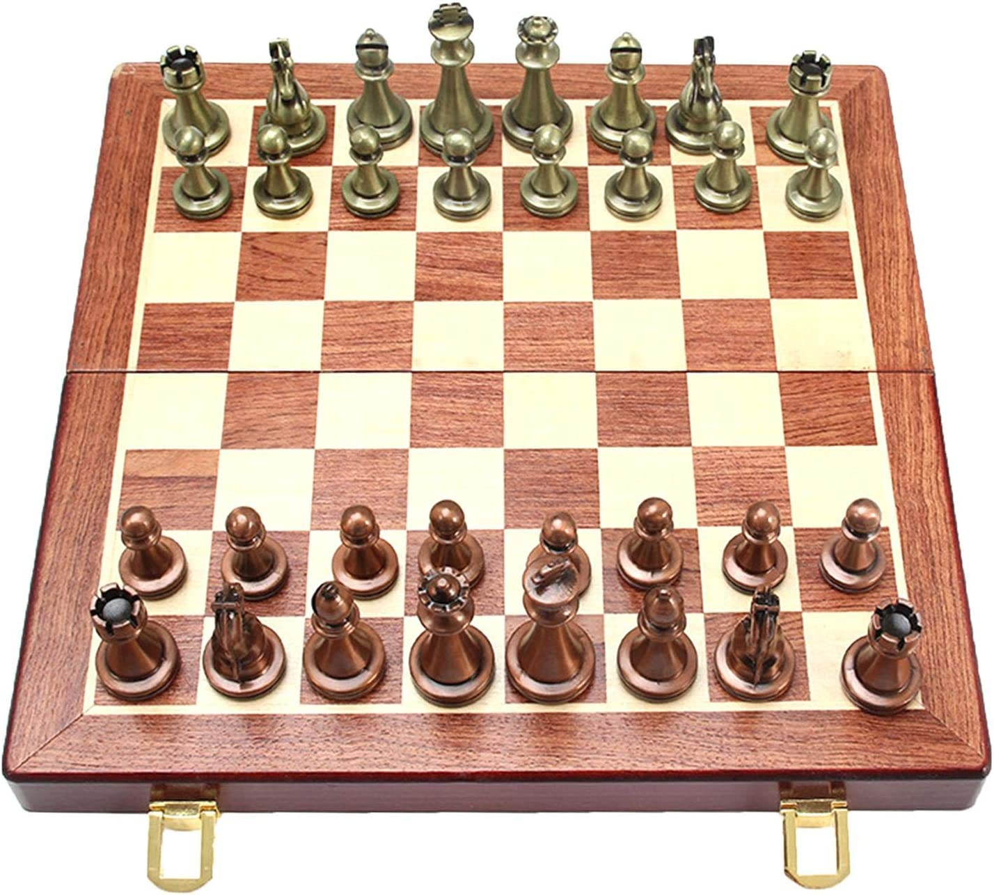 Kindlyperson 3 in 1 Handmade Wooden Chess Set Folding Portable Chessboard Storage Backgammon Checkers Travel Board Game Chess Set for Kids Adults Outdoor Indoor
