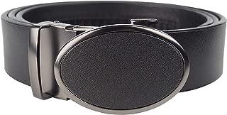 KEYNAT Cinturón Hombre Cuero - Cinturones Piel Automática Con Hebilla Trinquete Plateada