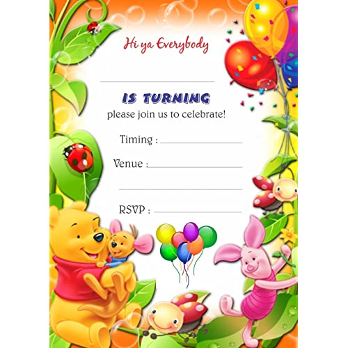 Askprints Kids Birthday Metallic Card Invitations With Envelopes Colourfull