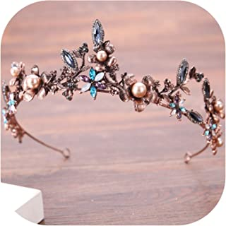 Gorgeous Vintage Gold Colorful Crystal Pearl Bridal Crowns Tiaras Wedding Hair Accessories Womens Baroque Crown Hair Jewelry,colorful
