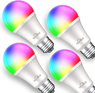 Smart Light Bulb Works with Alexa Google Home, NiteBird A19 E26 WiFi Multicolor Dimmable LED Lights Bulbs, 2700k + RGB, 75W Equivalent, No Hub Required, 4 Pack
