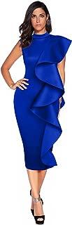 Womens Sleeveless Patchwork Ruffles Bodycon Vestidos Party Dresses Clubwear