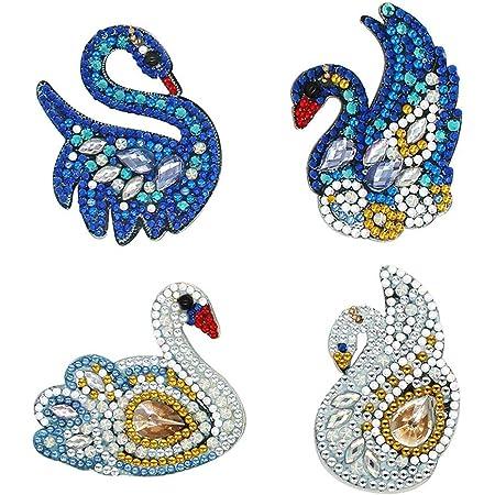 5pcs Mignon Hibou BRICOLAGE plein foret spécial en forme de diamant peinture Keychains Pendentif