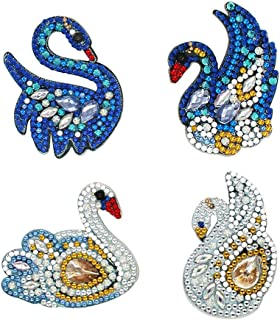 DIY Key Chain Diamond Painting Sets, 4pcs 5D Swan Shaped Full Drill Special Shaped Diamond Painting Keyring Mosaic Making Art Craft Gifts for Bag Phone Straps Decor