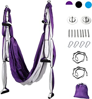 CO-Z Aerial Yoga Swing Set Sling, Strong Anti-Gravity, Yoga Hammock Kit, Trapeze Equipment, Inversion Tool, Exercises, Include Ceiling Mounting Kit and 2 Extensions Straps for Home or Gym Hanging