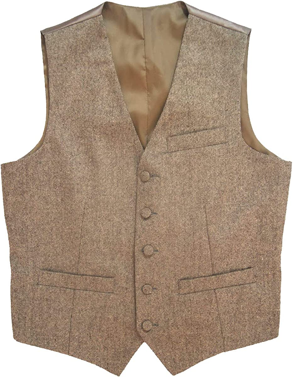 Tailorsun Brown Tweed Vest Vintage Rustic Wedding Vest Farm Wedding Groom Vests