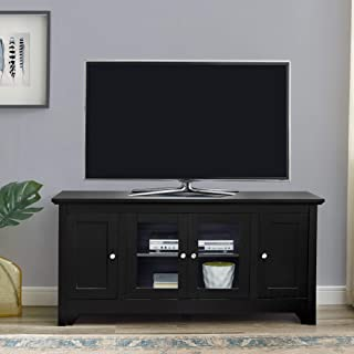 Walker Edison Transitional Wood Stand with Storage Cabinets for TV's up to 56