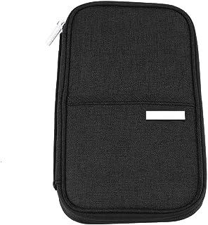 Garosa Travel Passport Holder Credit Card Organizer Wallet Document Bag Cardholder Portable Handle for Group Family Travel(S-Black)