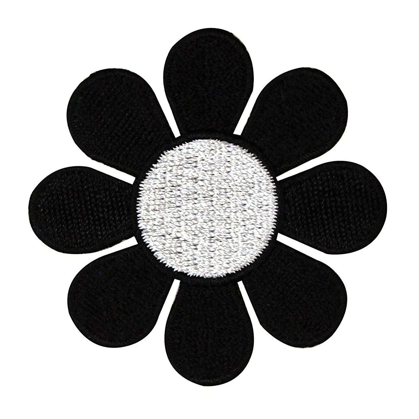 2 INCH Daisy Hippie Flower Embroidered Iron on Applique Patch FD - Black with White Center