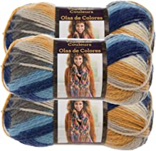 Lion Brand Yarn (3 Pack Color Waves Acrylic & Wool Yarn Light #3 Soft Yarn for Knitting Crocheting (Twilight)