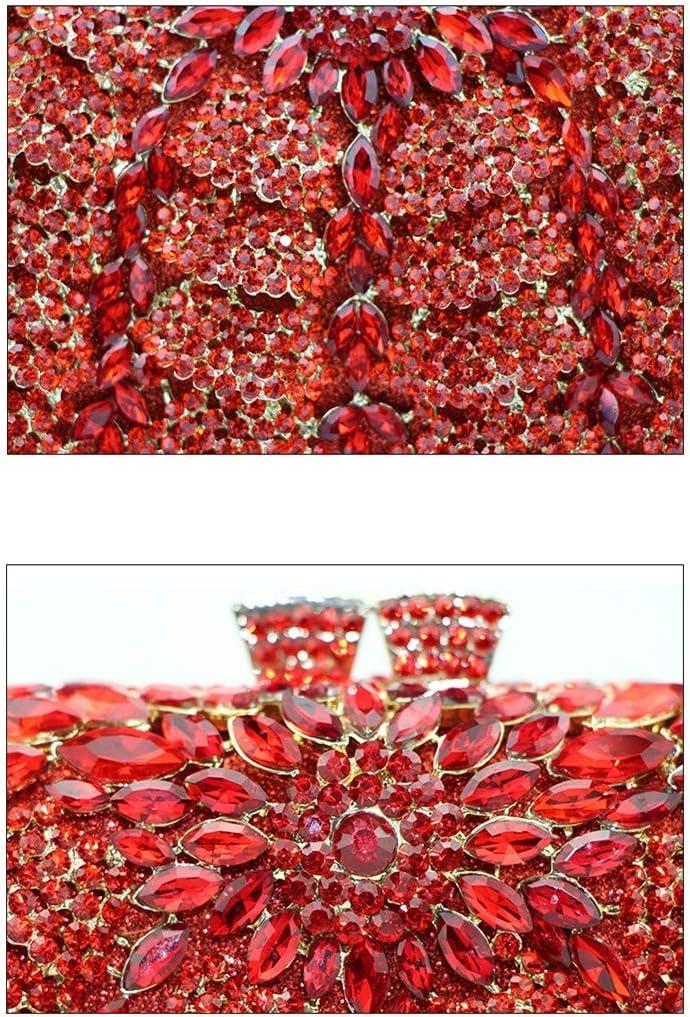 Xiaokeai Sac Ovale Strass Embrayage Mesdames dîner Sac cosmétique Porte-Monnaie avec détachable Chain Link Convient for des banquets et des (Color : Red) Multi-colored