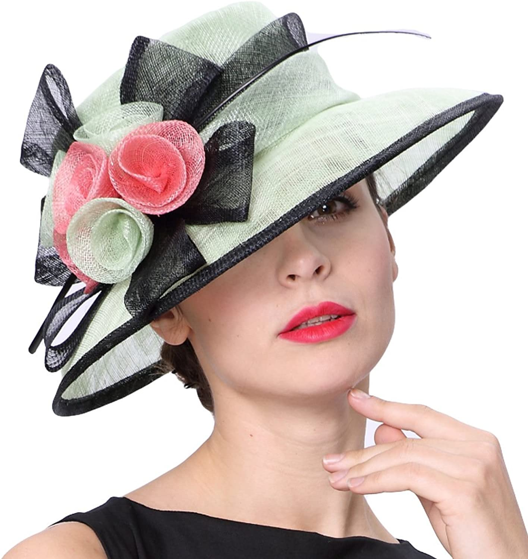 June's Young Women Hats Floral Pattern Elegant Party Wedding Wear