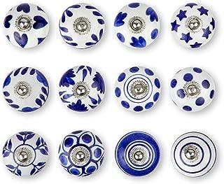 Set of 12 Blue & White Premium Quality 100% Hand Painted Handmade Knobs Ceramic knobs, Dresser Knobs, Drawer Pulls,Vintage Cabinet Handles,Cupboard Pull, Hand Painted Pulls by Elegant_Designs