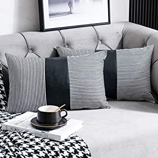 DEZENE Farmhouse Decorative Throw Pillow Covers, Set of 2 12x20 inch Striped Faux Leather Accent Pillow Boho Modern Decor Pillow Case for Couch Sofa, Black