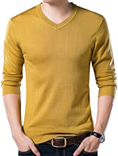 Men's Casual Slim V Neck Winter Wool Cashmere Pullover Jumper Sweater