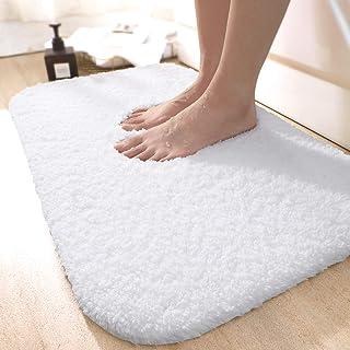 バスマット 玄関マット 足ふきマット 速乾 吸水 滑り止め 無地 洗える ふわふわ 40x60cm ホワイト