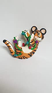Tiger CHRISTMAS ORNAMENT Tangled in Christmas Lights Feet Up Hand Made Polymer Clay OOAK