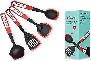 Multi-Function Silicone and Nylon Cooking Utensil Set Fianeh Kitchen Silicone Utensils 4 Pcs, BPA Free Non Toxic, Non-stic...