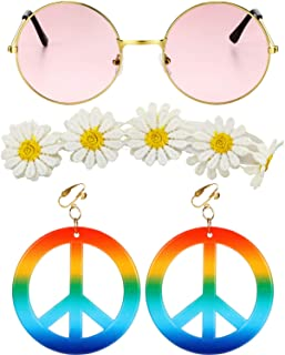 3 Pieces Hippie Costume Set, Include Sungl, Rainbow Peace Sign Earrings and Sunflower Headband for Women Girls Carnival 60...