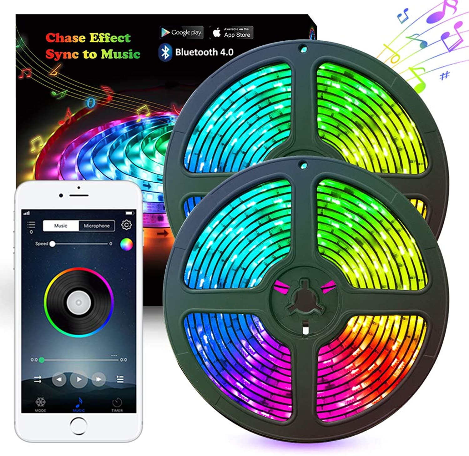 Music LED Strip Lights, 10M 33.8ft LED Lights Strip blueetooth Smart Phone APP & RF Remote Controlled RGB LED Strip Rope Lights Waterproof LED Strip Lights Kits Support iPhone Android, Rainbow colors