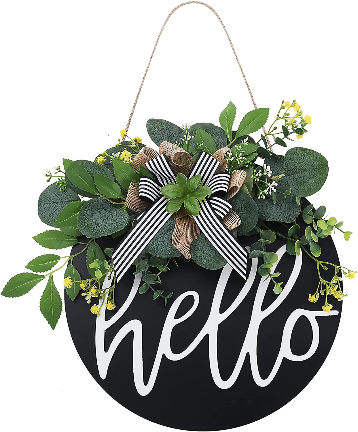 Welcome Sign Hello Superior Front Door Wood Decor for Round Los Angeles Mall