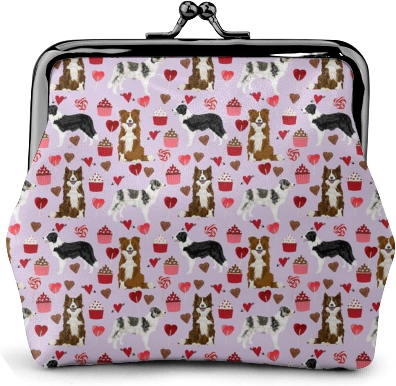 Border Collie Mixed 813 Leather Coin Purse Kiss Lock Change Pouch Vintage Clasp Closure Buckle Wallet Small Women Gift