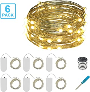 6 Pack Mini Starry String Lights,10ft 30 LEDs Fairy Lights Battery Operated Silver Coated Copper Wire Light Firefly Lights Warm White Fairy Lights For DIY Christmas Wedding Bedroom Indoor Decoration