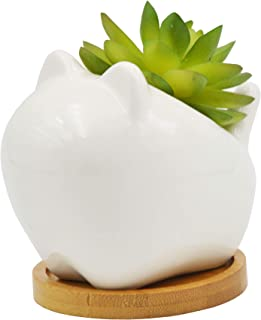 Cute Cartoon Animal Cat Shaped Ceramic Succulent Cactus Flower Plant Pots with Bamboo Tray (Plant Not Included)